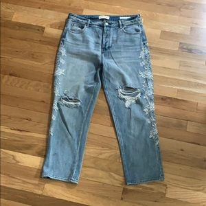 PacSun Denim distressed and embellished Mom Jeans